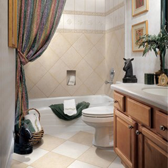 Bathroom with multi colored shower curtain