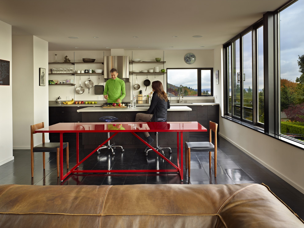 Open plan cycle house kitchen