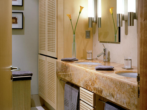 Bathroom with peach colored granite countertop
