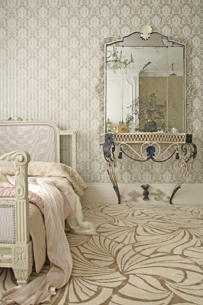 Bedroom with an animal printed carpet design