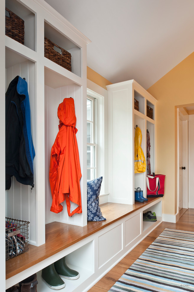Mudroom with a window bench seating