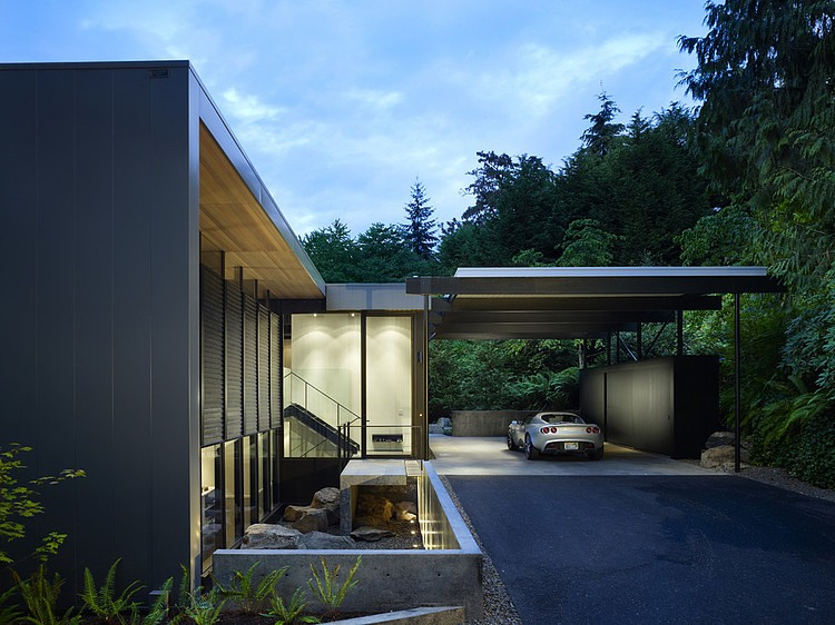 Wood block residence surrounded with trees