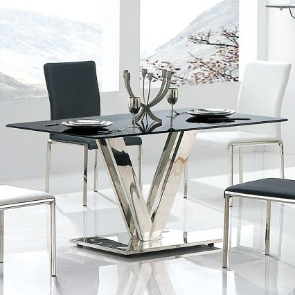 black glass table top