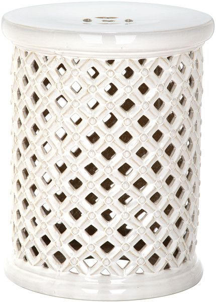 white lattice work stool