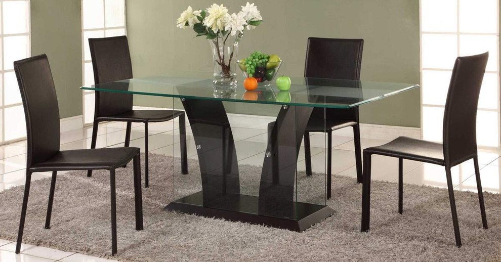 Contemporary glass dining table base ideas