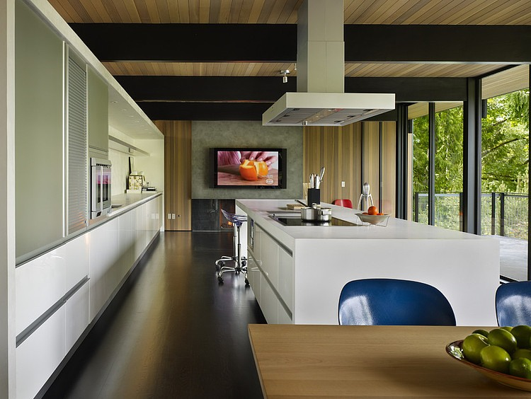 Kitchen with a white island