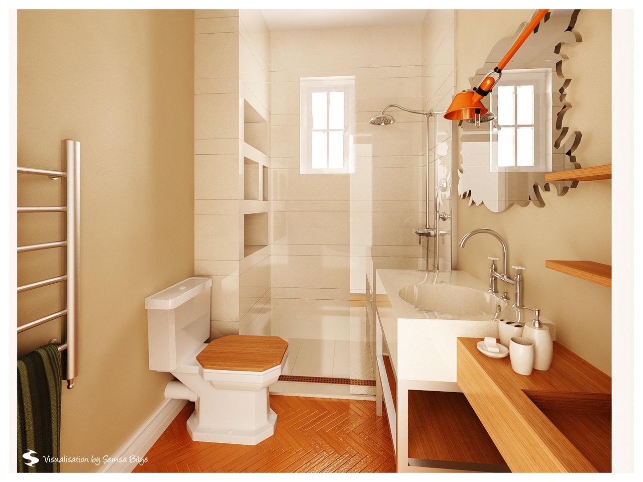 Bathroom with orange colored floor