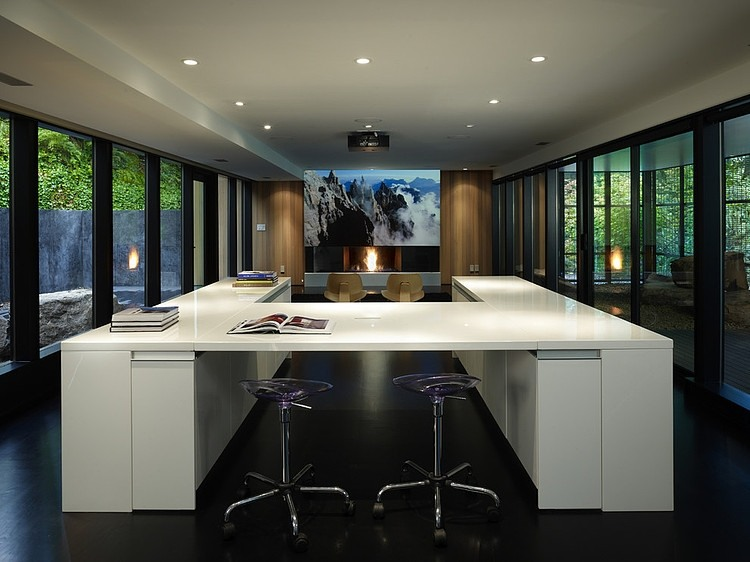 Wood block interior with glass walls