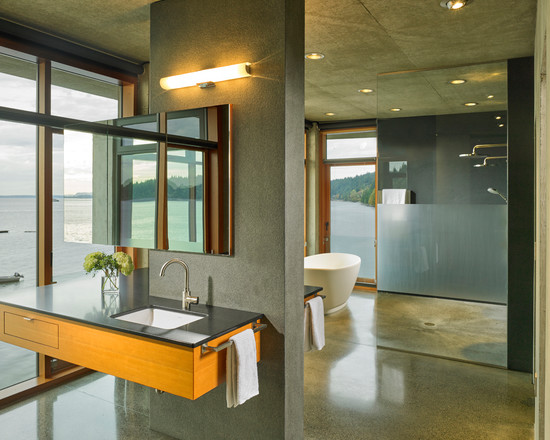 Modern bathroom with a wooden sink