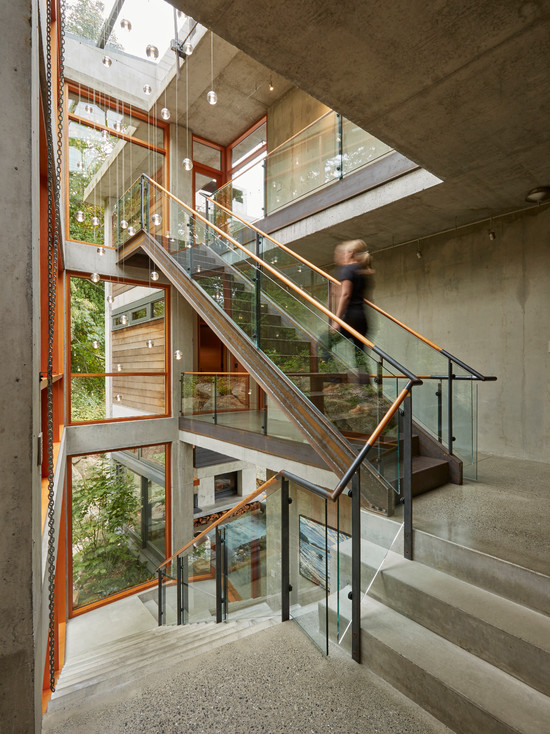 Modern staircase with glass rails
