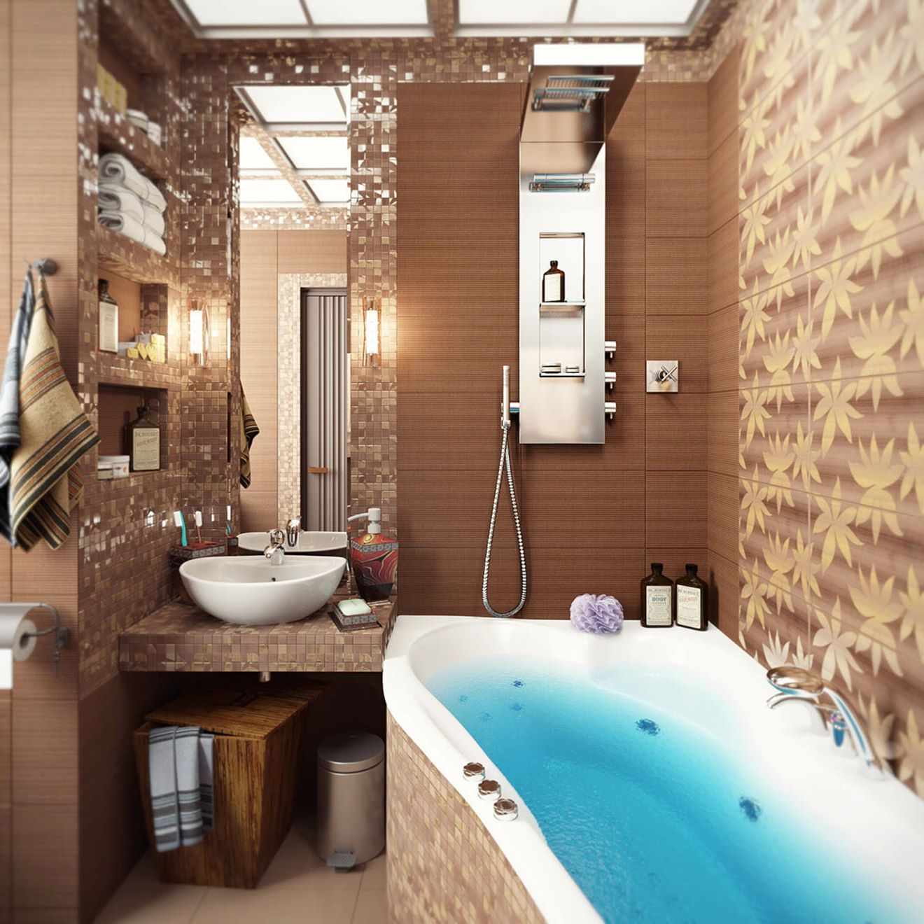 brown mosaic bathroom tiles