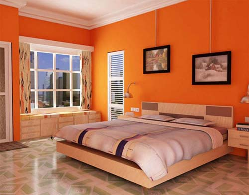 orange bedroom design
