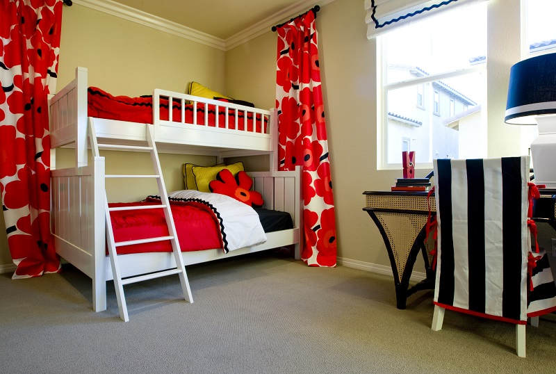 white bunk bed kids room