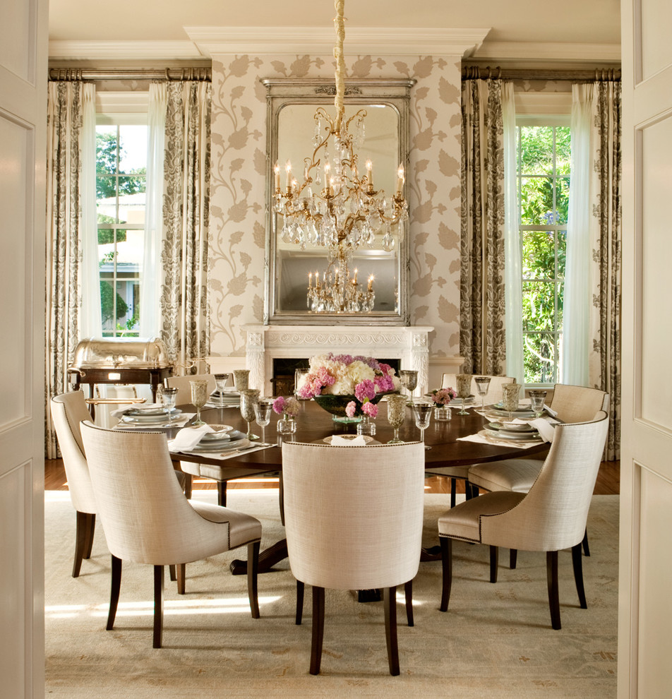 Dining room with a round dining table