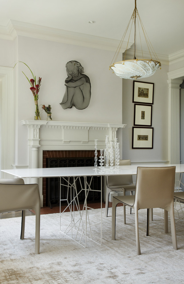 Dining room with a modern table design