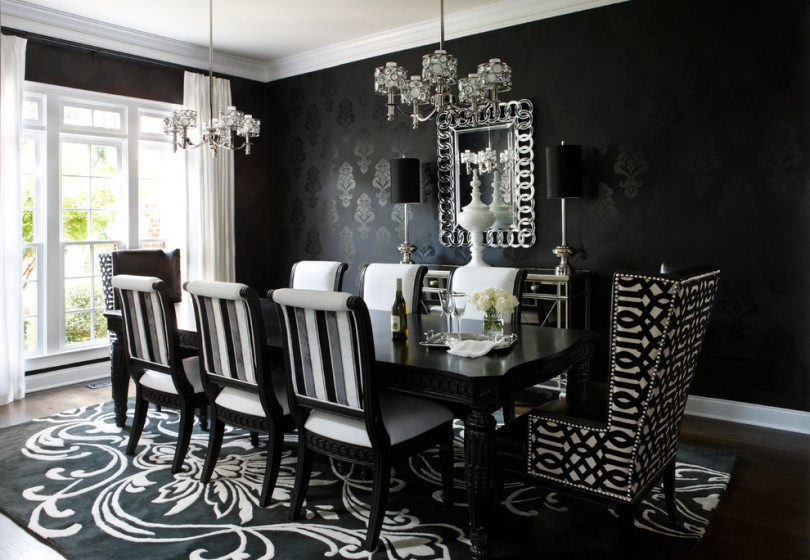 black lacquer dining room table and chairs