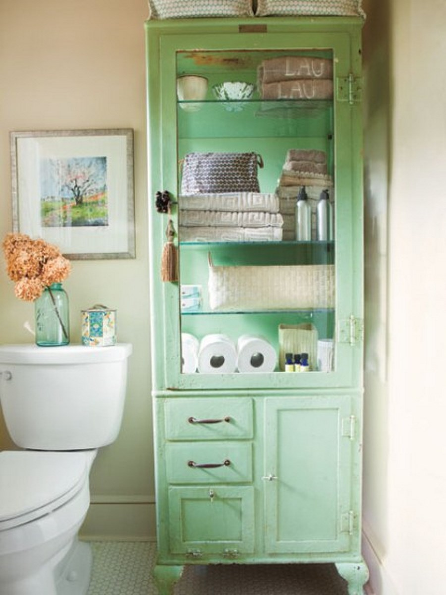 green bathroom cabinet