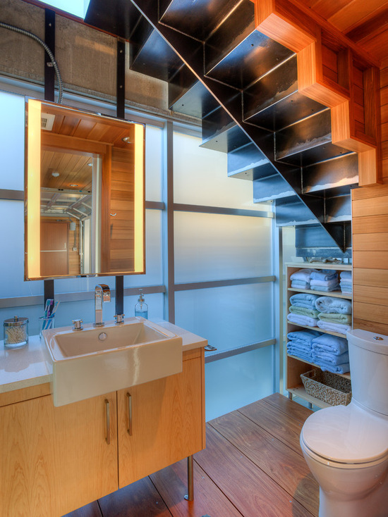 Under stairs shelving design ideas for Bathroom under stairs