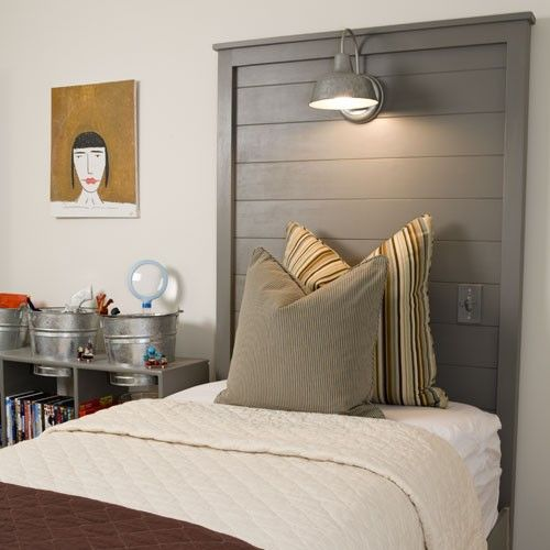 gray door headboard