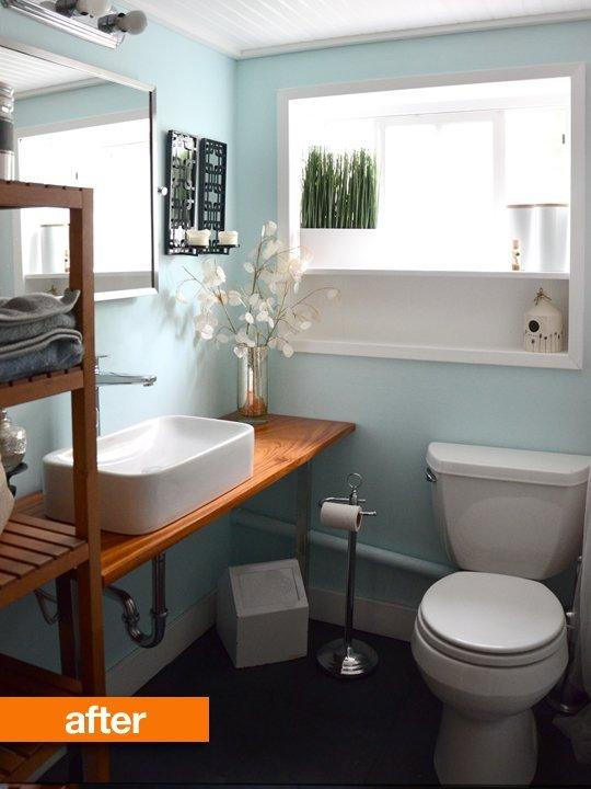 Light blue walls bathroom