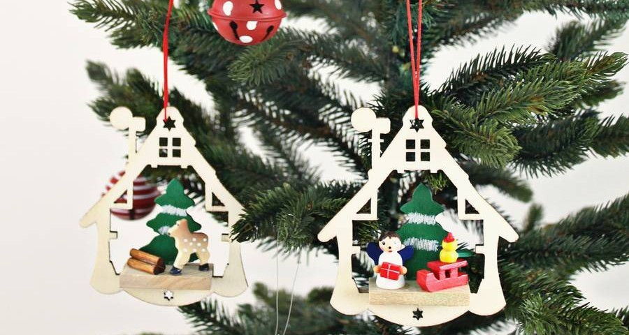 christmas scene laser cut decorations christmas - Wooden Christmas Tree Decorations