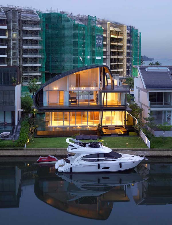 Beautiful house exterior facing the water