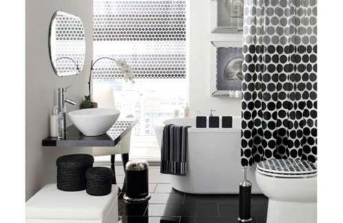 White and black bathroom design