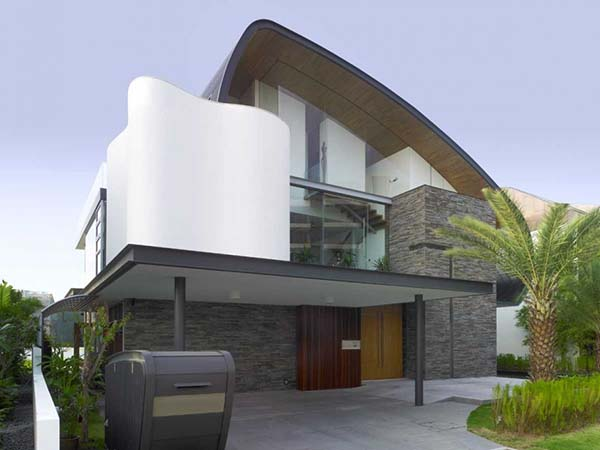 White and grey house exterior design