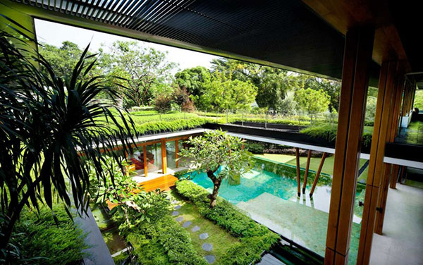 Water lily house with a lovely water court