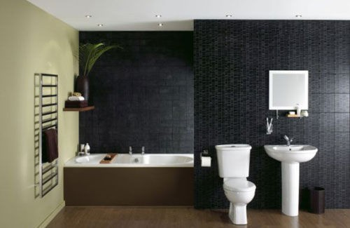 Bathroom with different color tiles