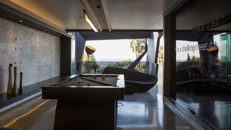Playing area with a pool table