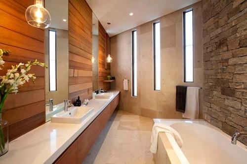 Brick and wooden bathroom design