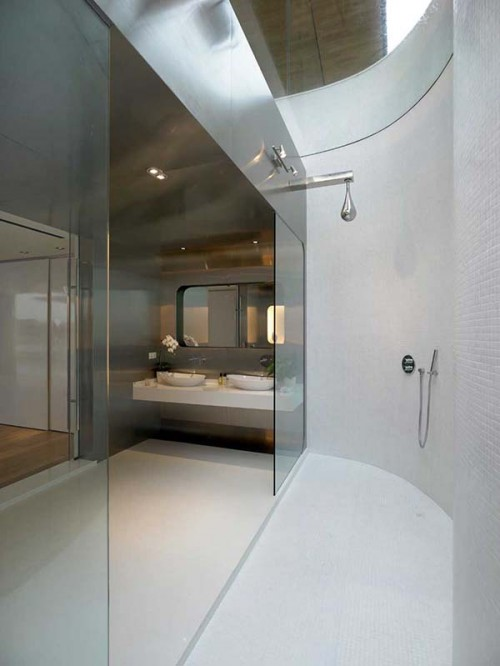 Shower area with white walls