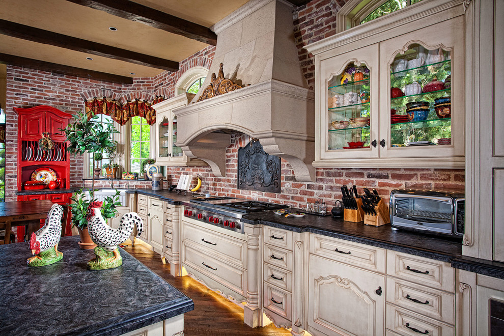 country design kitchen with white cabinets