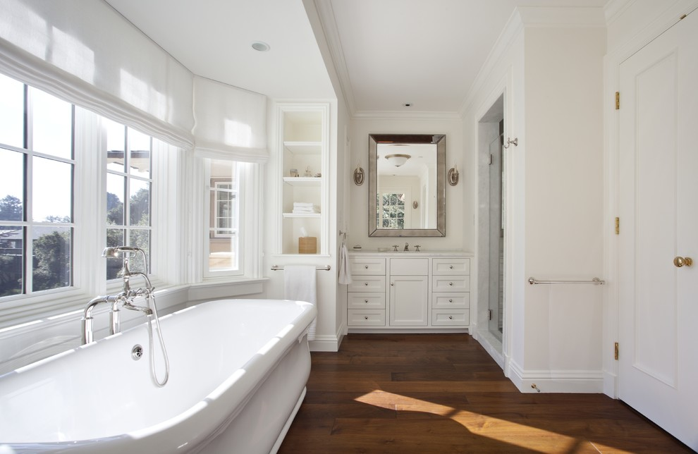 Wooden flooring in bathroom