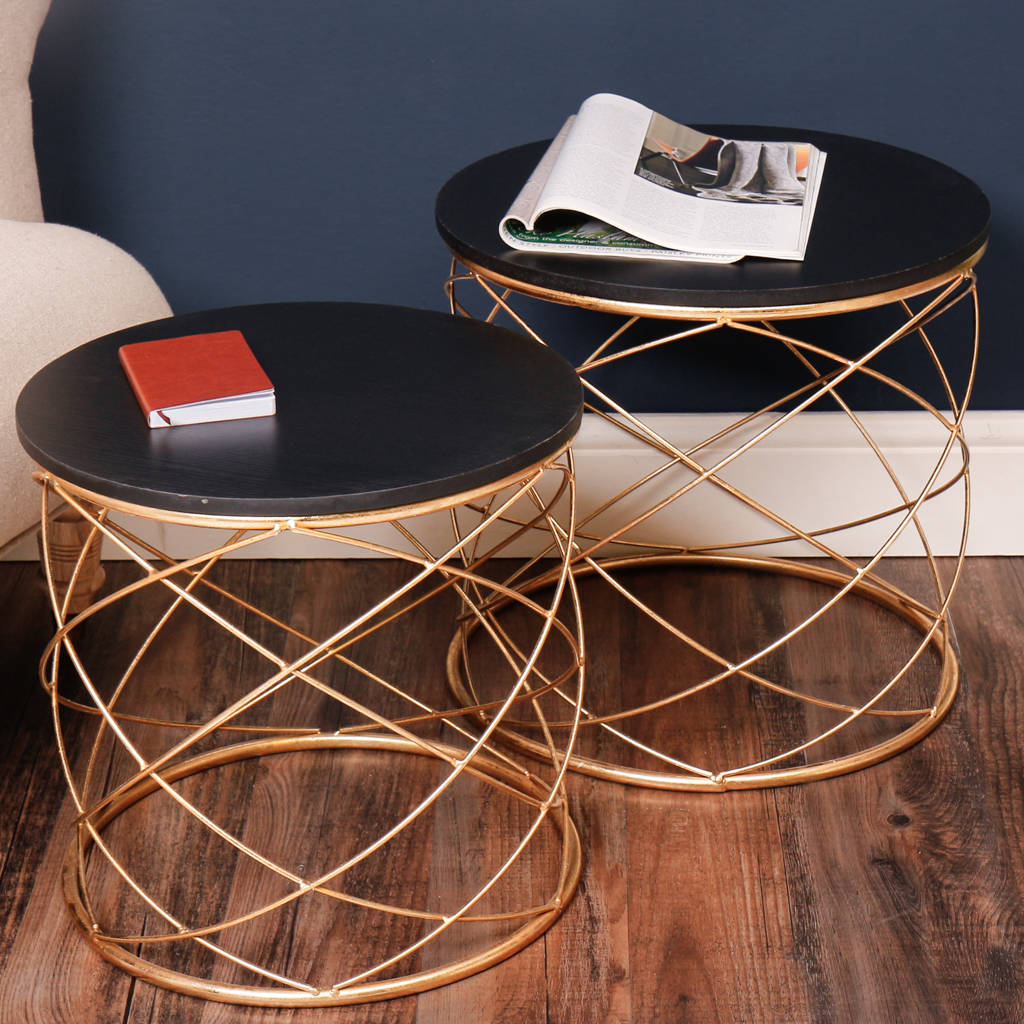 Black And Gold Abstract Round Tables