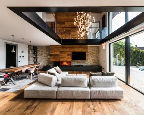 fireplace and media wall