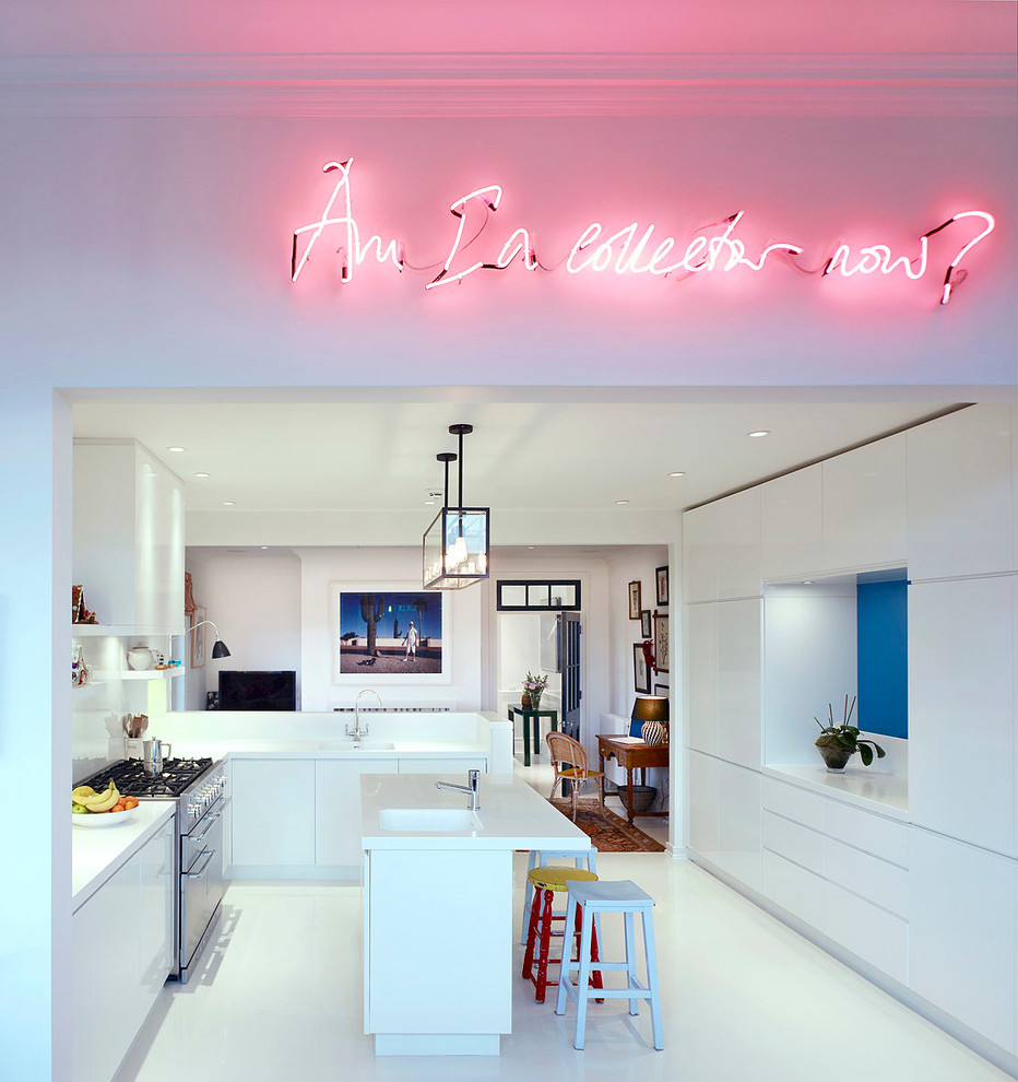 White kitchen with Pink Lights