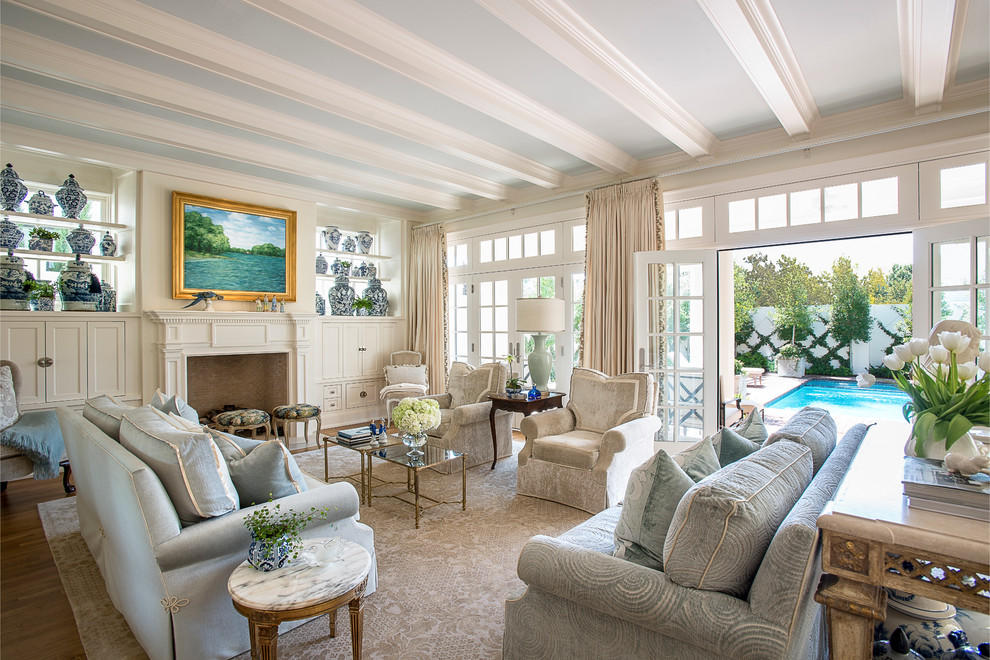 traditional-small-living-room-with-swimming-pool-views
