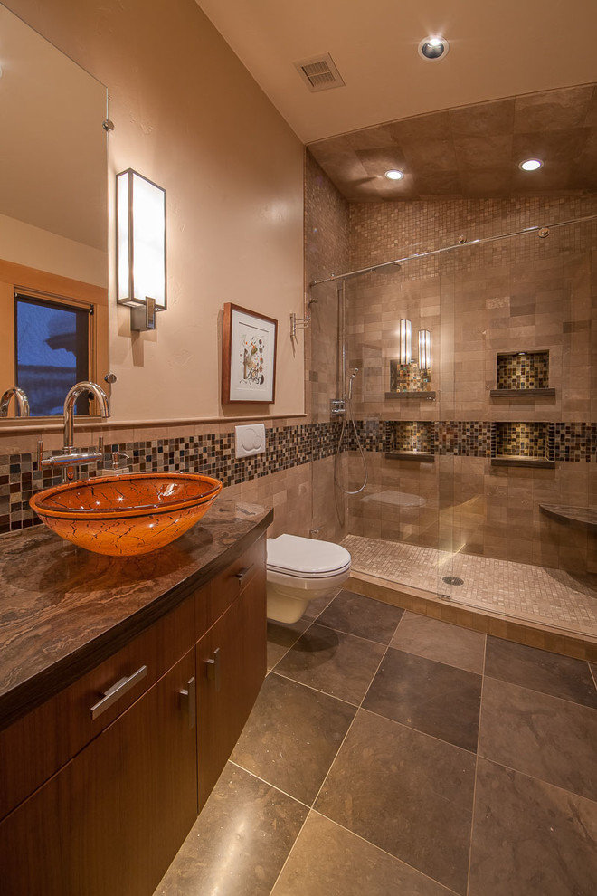 Walnut brown tile bathroom