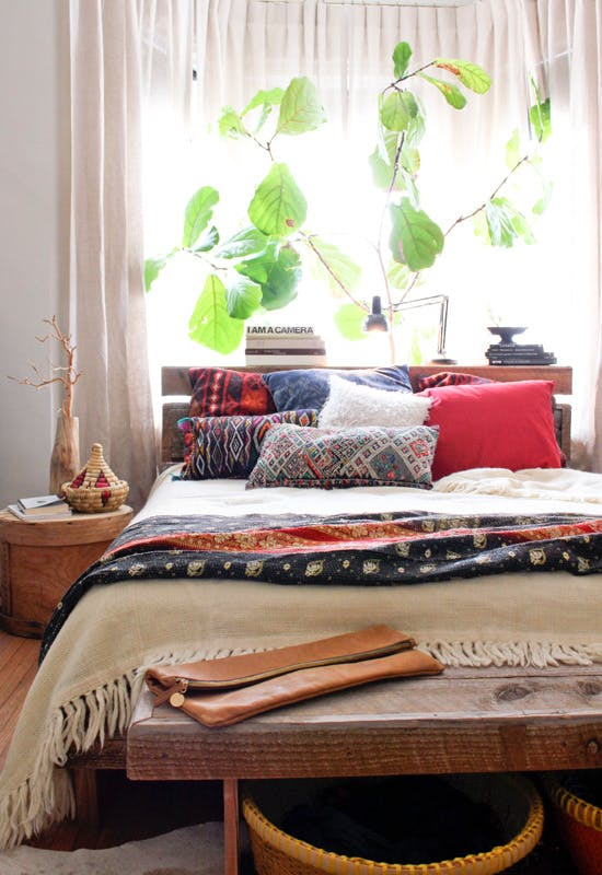 rustic and bohemian bedroom