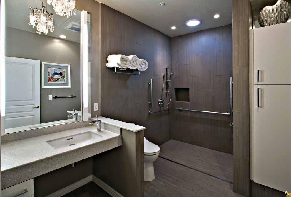 Brown with Grey bathroom