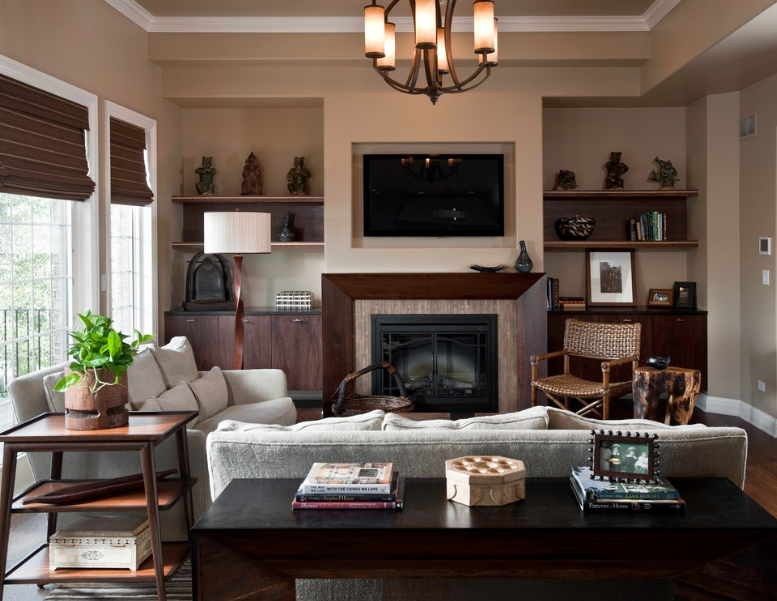 Decorating Your Living Room with Brown Fireplace - Interior ...