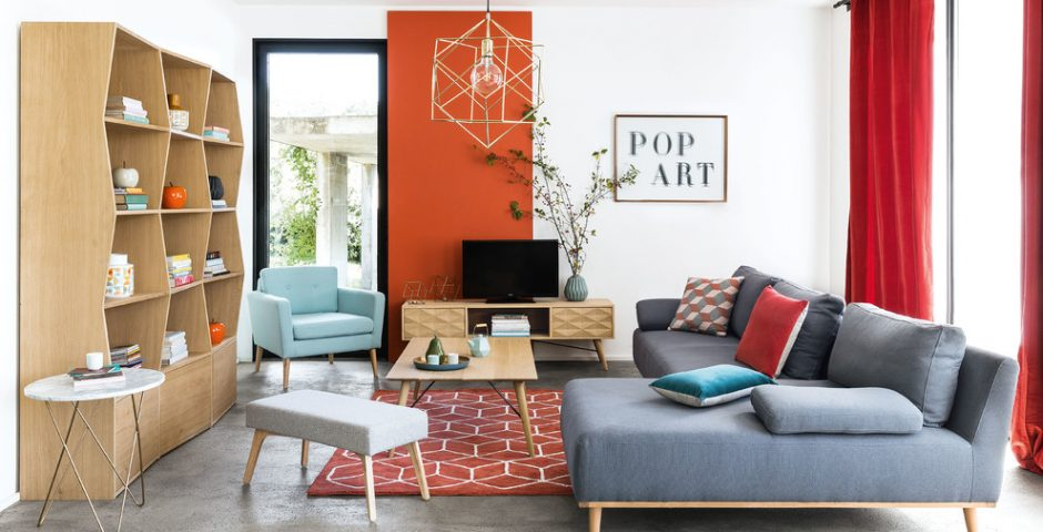 Colors Popping out- midcentury living room