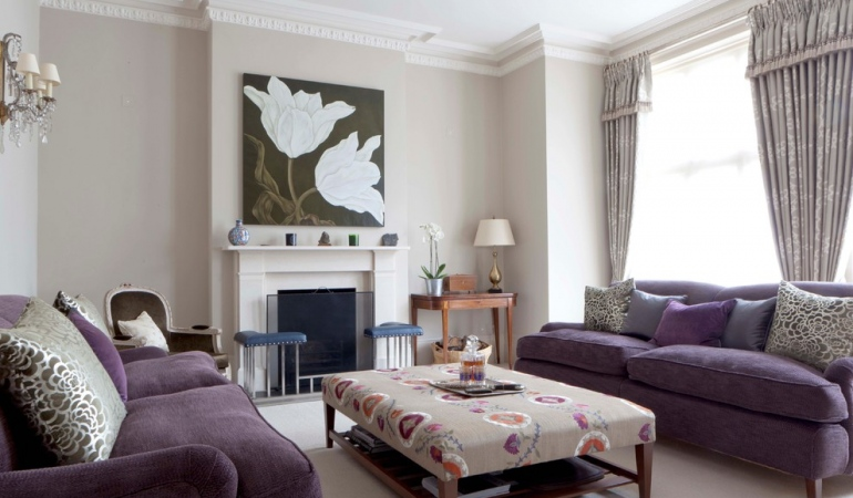 Living room with purple sofa furniture for Purple and taupe bedroom