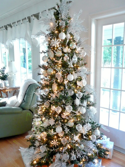 white and silver christmas tree home design ideas pictures remodel and decor - How To Decorate A White And Silver Christmas Tree