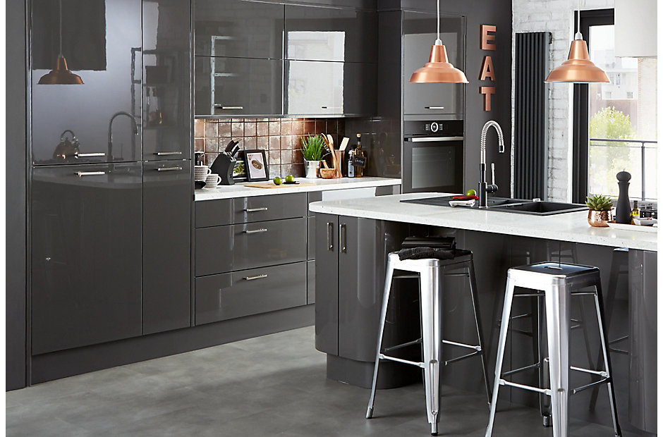 Cooke Lewis Rafello High Gloss Anthracite Contemporary