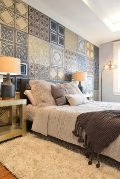 Bedroom wall textures with geometric patterns