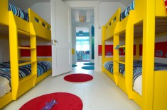 Blue and yellow kids room