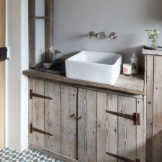 Reclaimed wood bathroom storage